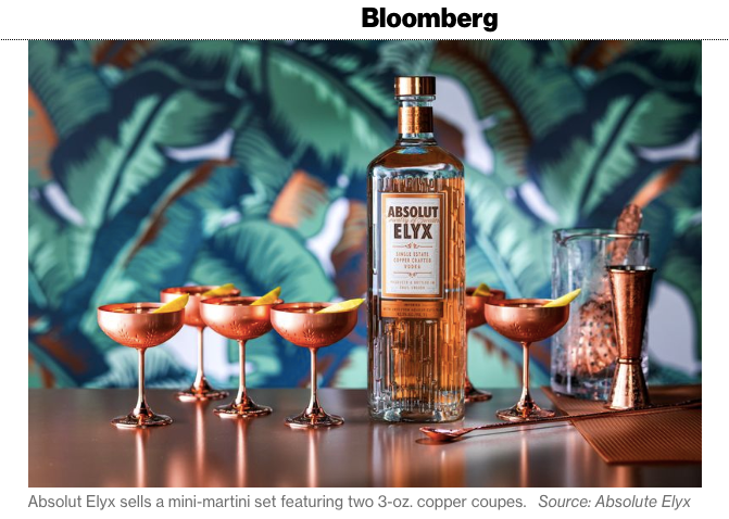 Absolut Elyx Boutique Copper Tiny Tini Coupes in Bloomberg: Teeny Tiny Martinis Are Taking Over