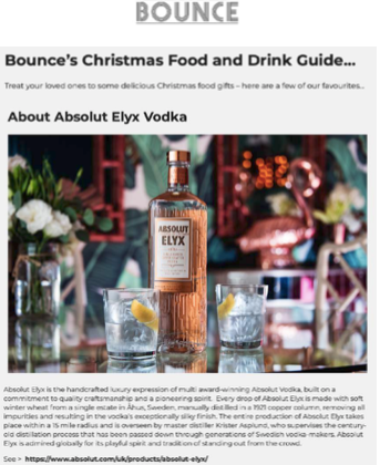 Absolut Elyx Winter Drinks on Bounce Magazine