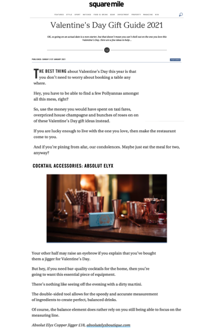 Absolut Elyx on Square Mile Magazine Valentine's Gift Guide