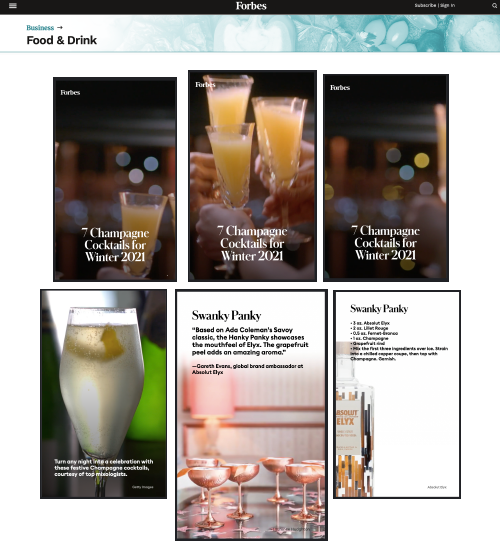 Absolut Elyx Copper Coupe on Forbes Champagne Winter Cocktail Guide