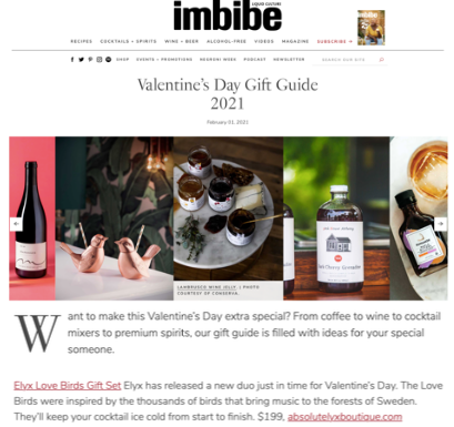 Absolut Elyx Love Birds on Imbibe's Valentine's Day Gift Guide