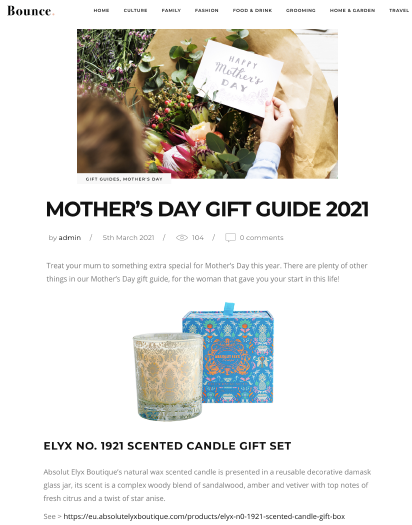Absolut Elyx NO 1921 Candle & Pajama Dream Set on Bounce Magazine's Gift Guide