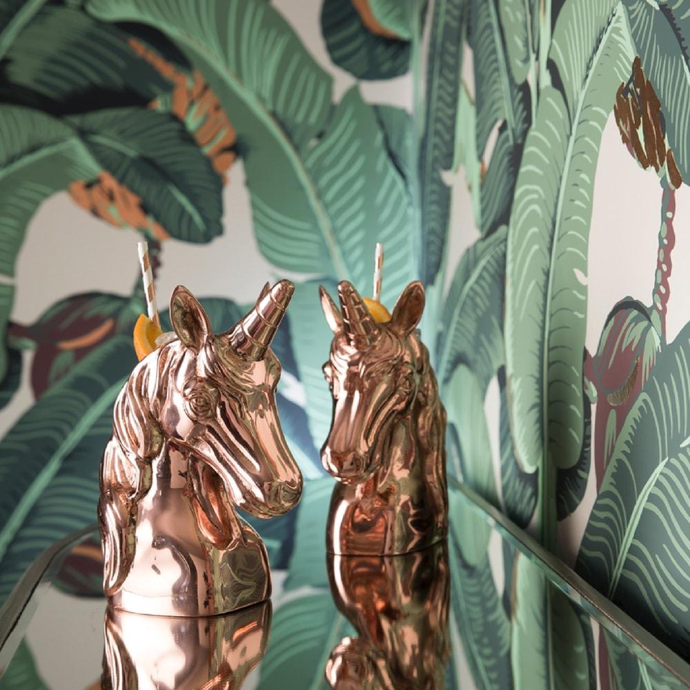 Duo of Copper Unicorns Cocktail cups with banana leaf wallpaper