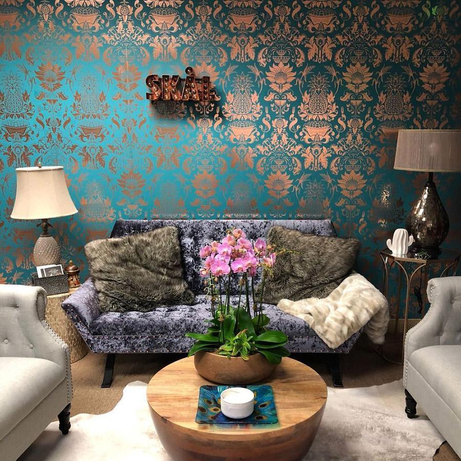 Pineapple Damask Wallpaper