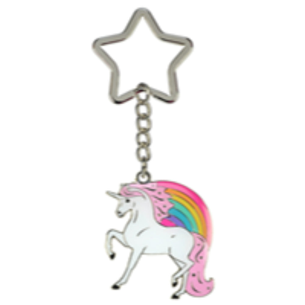 Happy Ross Metal Unicorn Head Keyring