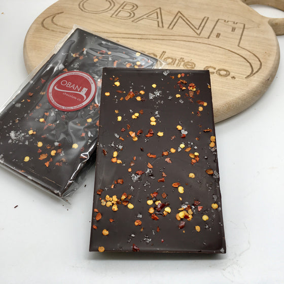 70% dark chocolate with flaked chilli and sea salt