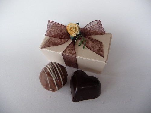 2 choc ballotin with organza ribbon and flower