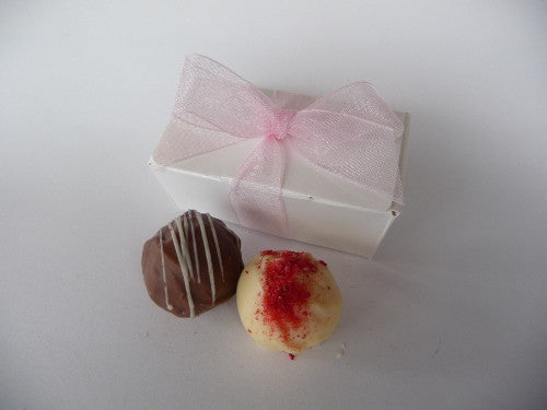 2 choc ballotin with organza ribbon