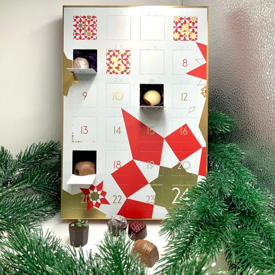 Red, white and gold chocolate filled advent calendar