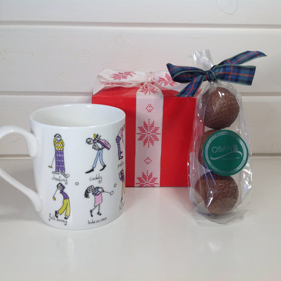 Golfing Mug with Whisky Ganache filled Golf Balls.