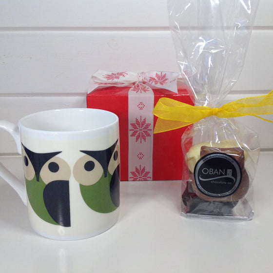 Orla Kiely Owl Mug with Chocolate Owls