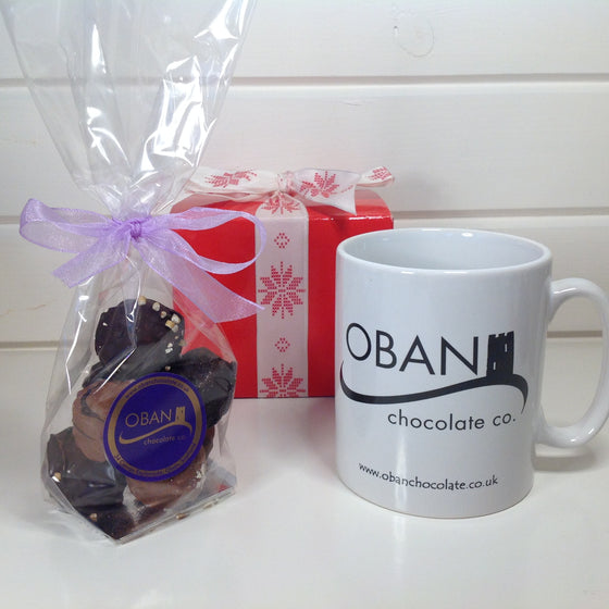 Oban Chocolate Mug filled with 100g handmade chocolates
