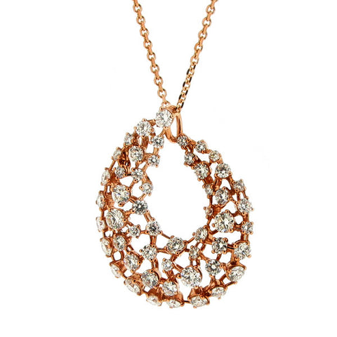 Neckwear - Diamond spray pendant and chain in 18ct rose gold, 2.95ct  - PA Jewellery