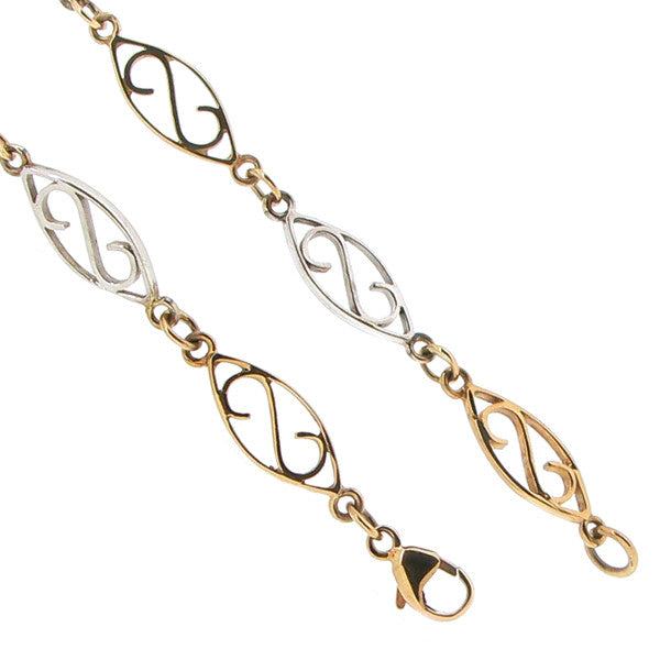 Wristwear - Fancy link bracelet in 9ct yellow and white gold  - PA Jewellery