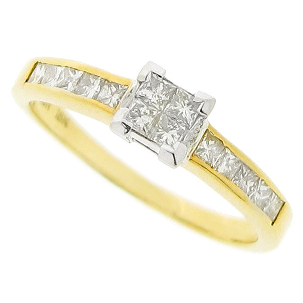 Princess cut diamond cluster ring in 18ct gold, 0.50ct
