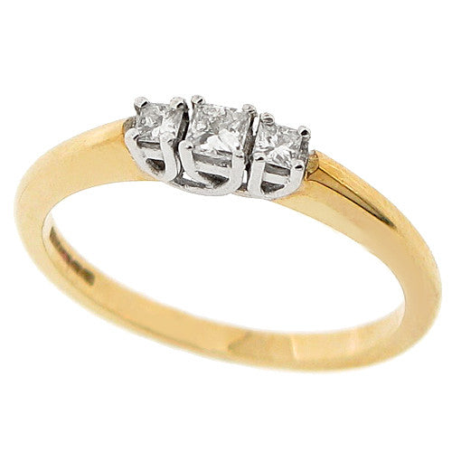 Princess cut diamond three stone ring in 9ct yellow gold, 0.18ct