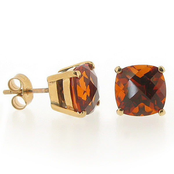Cushion shape citrine stud earrings in 9ct gold