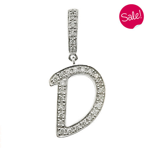 Diamond set initial 'D' pendant in 9ct white gold