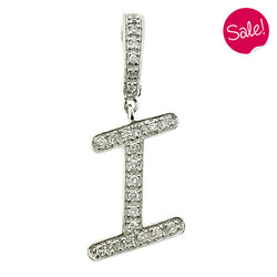 Diamond set initial 'I' pendant in 9ct white gold