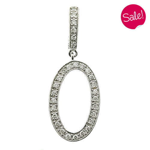 Diamond set initial 'O' pendant in 9ct white gold