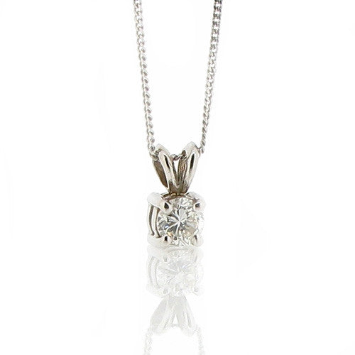 Neckwear - Diamond solitaire pendant and chain in 18ct white gold 0.33ct.  - PA Jewellery
