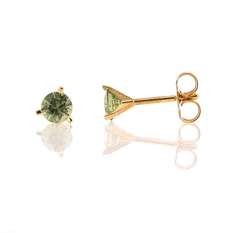 Earrings - Demantoid garnet stud earrings in 18ct gold.  - PA Jewellery