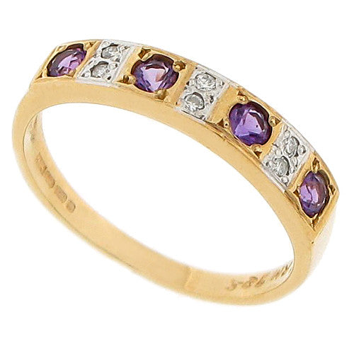 Amethyst and diamond half eternity band in 9ct yellow gold