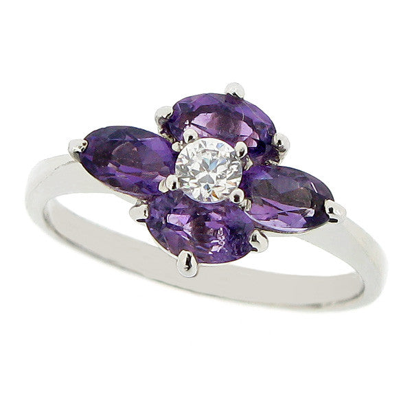 Ring - Amethyst and cubic zirconia cluster ring in 9ct white gold  - PA Jewellery