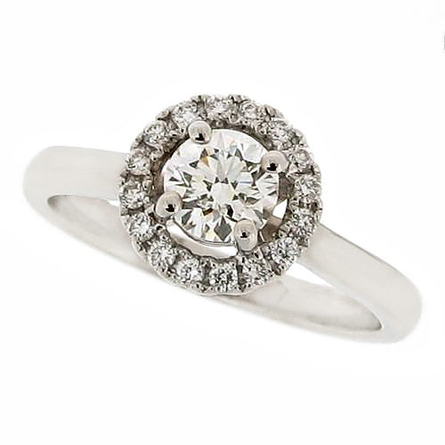 "Ring - Brilliant cut diamond ""Halo"" cluster ring in platinum, 0.62ct.  - PA Jewellery"