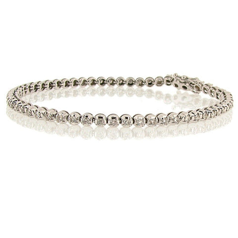 Wristwear - Diamond tennis bracelet in 18ct white gold, 1.50ct.  - PA Jewellery