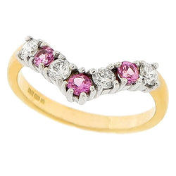 Pink sapphire and diamond wishbone half eternity ring in 18ct gold