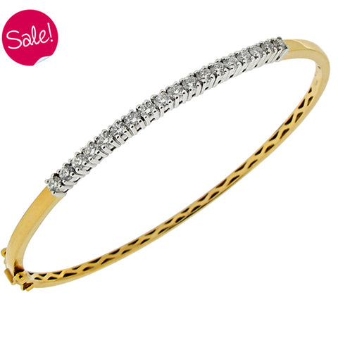 Diamond bangle in 18ct yellow gold, 1.00ct.