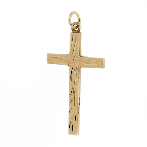 Neckwear - Patterned cross in 9ct yellow gold  - PA Jewellery
