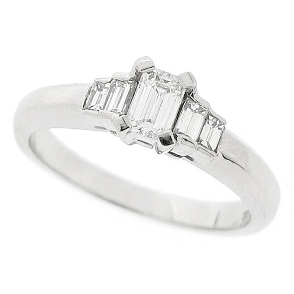 Emerald cut diamond five stone ring in platinum, 0.46ct