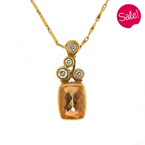 Golden Topaz and Diamond pendant and chain in 18ct yellow gold