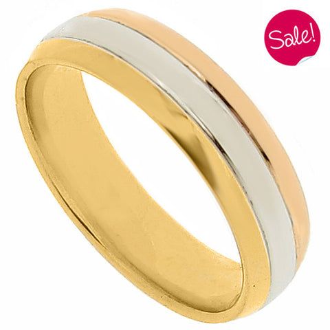 Three colour band ring in 18ct yellow, white and rose gold