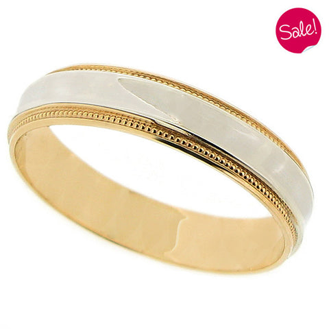 Beaded edge concave band ring in 9ct yellow and white gold