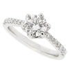 Diamond solitaire ring with diamond set shoulders in platinum, 1.24ct
