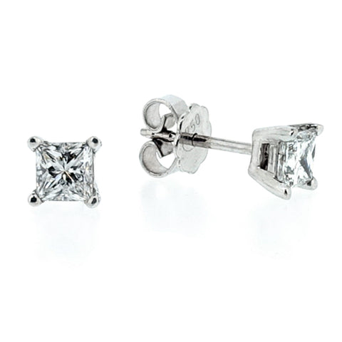 Princess cut diamond solitaire earrings in 18ct white gold, 1.06ct