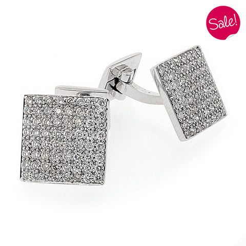 Diamond set square cufflinks in 18ct white gold, 1.97ct