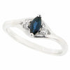 Sapphire and diamond three stone ring in 9ct white gold