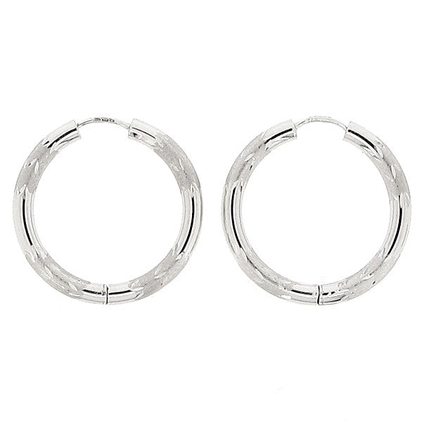 Diamond cut detail hinged hoop earrings in 9ct white gold