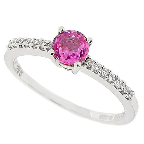 Pink sapphire and diamond ring in 18ct white gold
