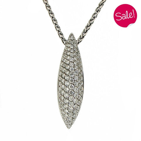 Neckwear - Diamond pendant and chain in 18ct white gold, 1.23ct  - PA Jewellery