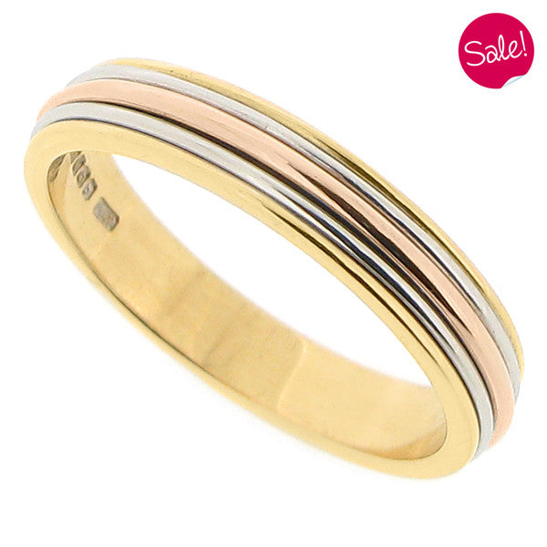 Multi-row band ring in 18ct yellow and rose gold and platinum