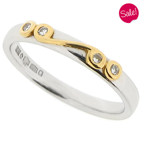 Diamond set scroll detail band ring in platinum and 18ct gold, 0.15ct