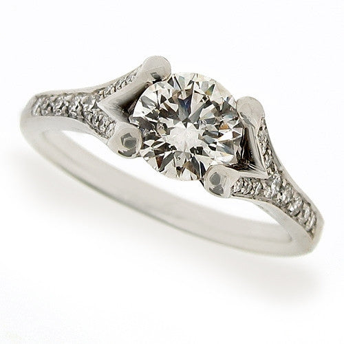 Ring - Diamond solitaire ring with diamond set shoulders in platinum, 1.15ct.  - PA Jewellery