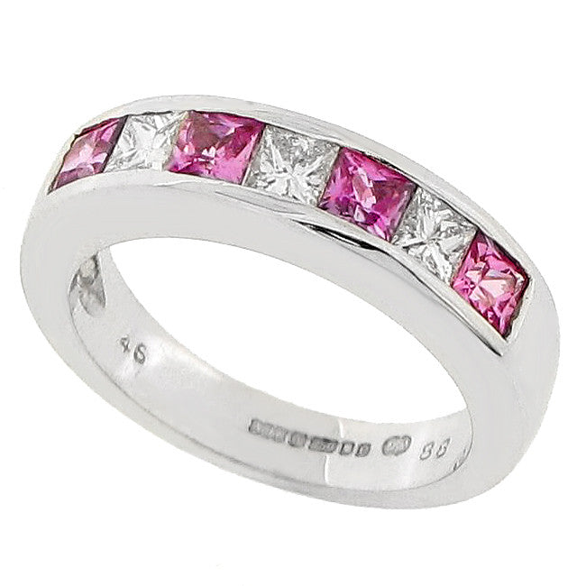 Pink sapphire and diamond seven stone ring in 18ct white gold