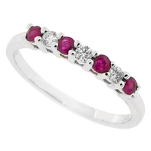 Ruby and diamond half eternity band in 9ct white gold
