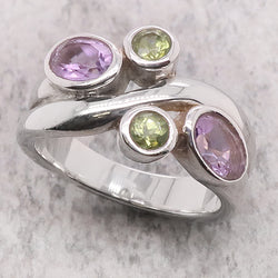 Amethyst and peridot wave dress ring in silver